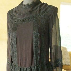 H&M Lace Dress Black XS Goth Long Midi